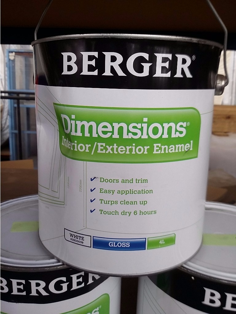 Berger dimensions interior exterior white gloss oil for Exterior oil based paint