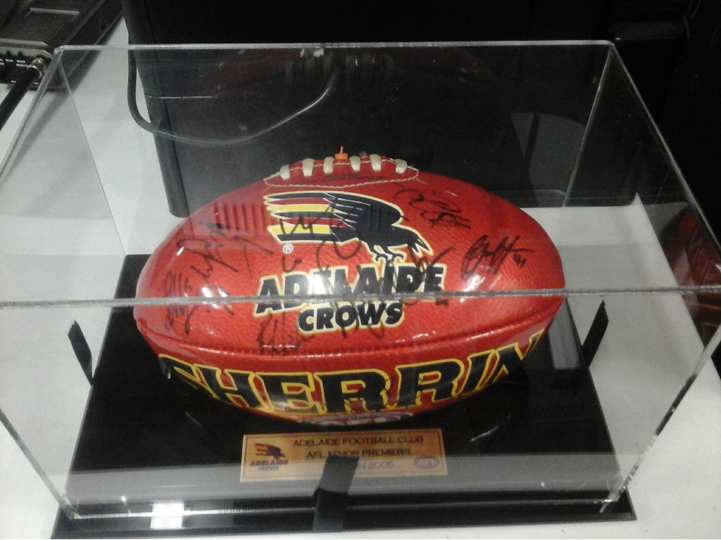 Adelaide Crows Small Signed Sherrin Football Complete With Clear Plastic Display Case Adelaide