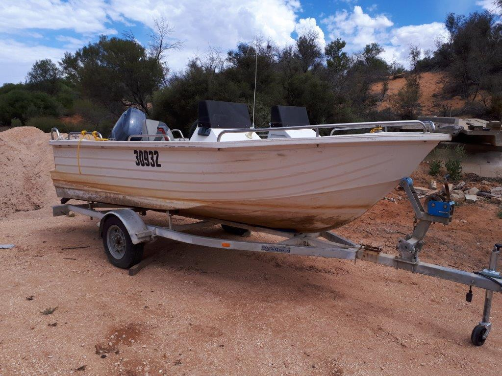 Boat Polycraft On Trailer With 60 Hp Yamaha Outboard