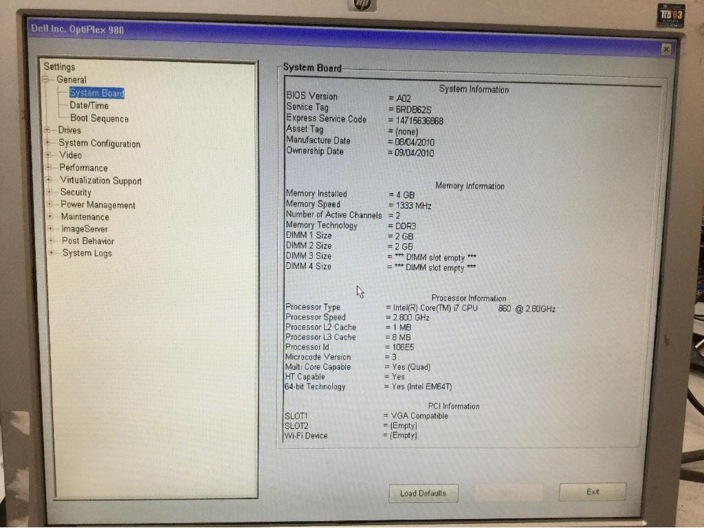 Desktop, Dell Optiplex 980, Appears to Function