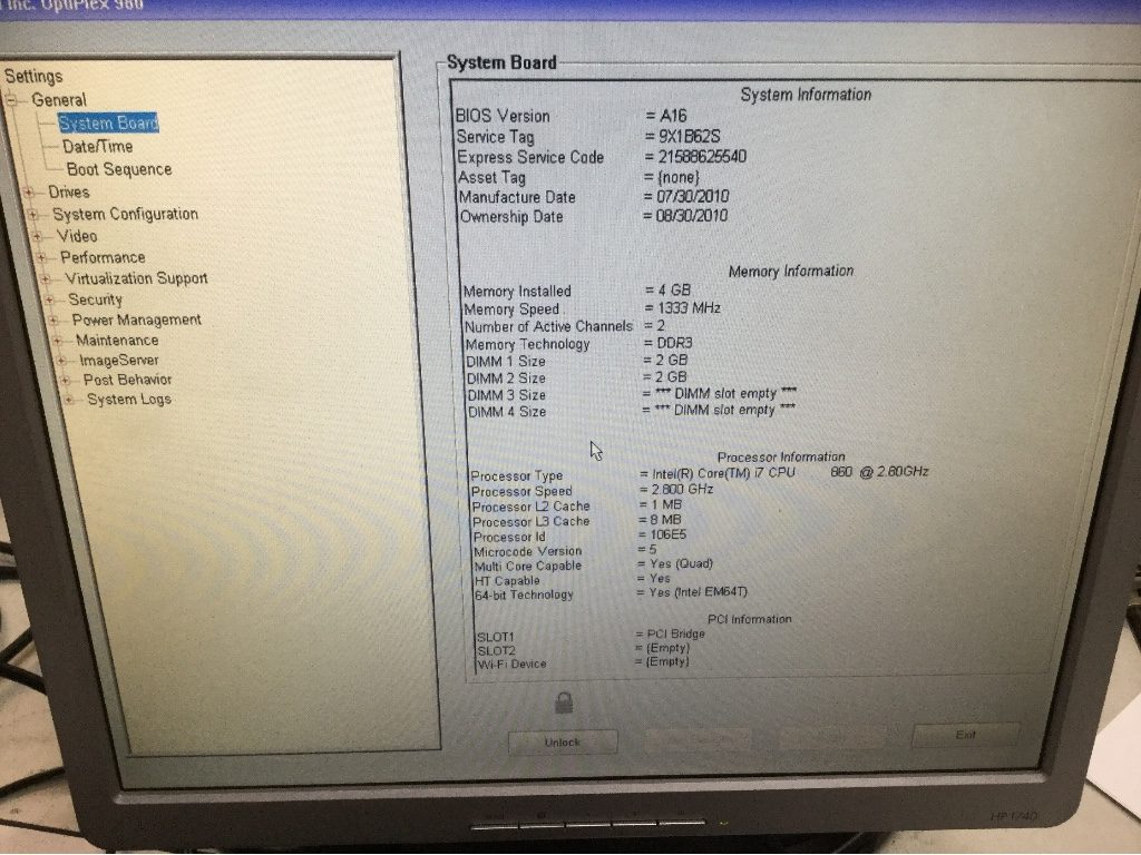 Desktop PC, Dell Optiplex 980, Appears to Function