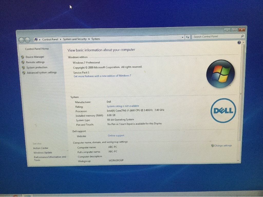 Desktop PC with Monitor, Dell Optiplex 990, Appears to Function