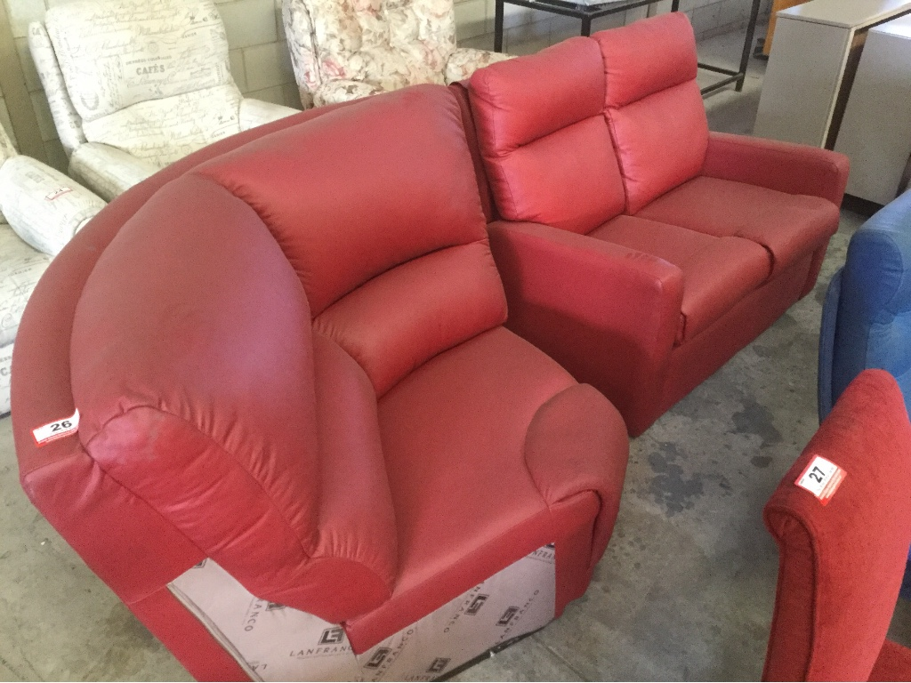 2 Seater Lounge Lounge Corner Unit Red Leather