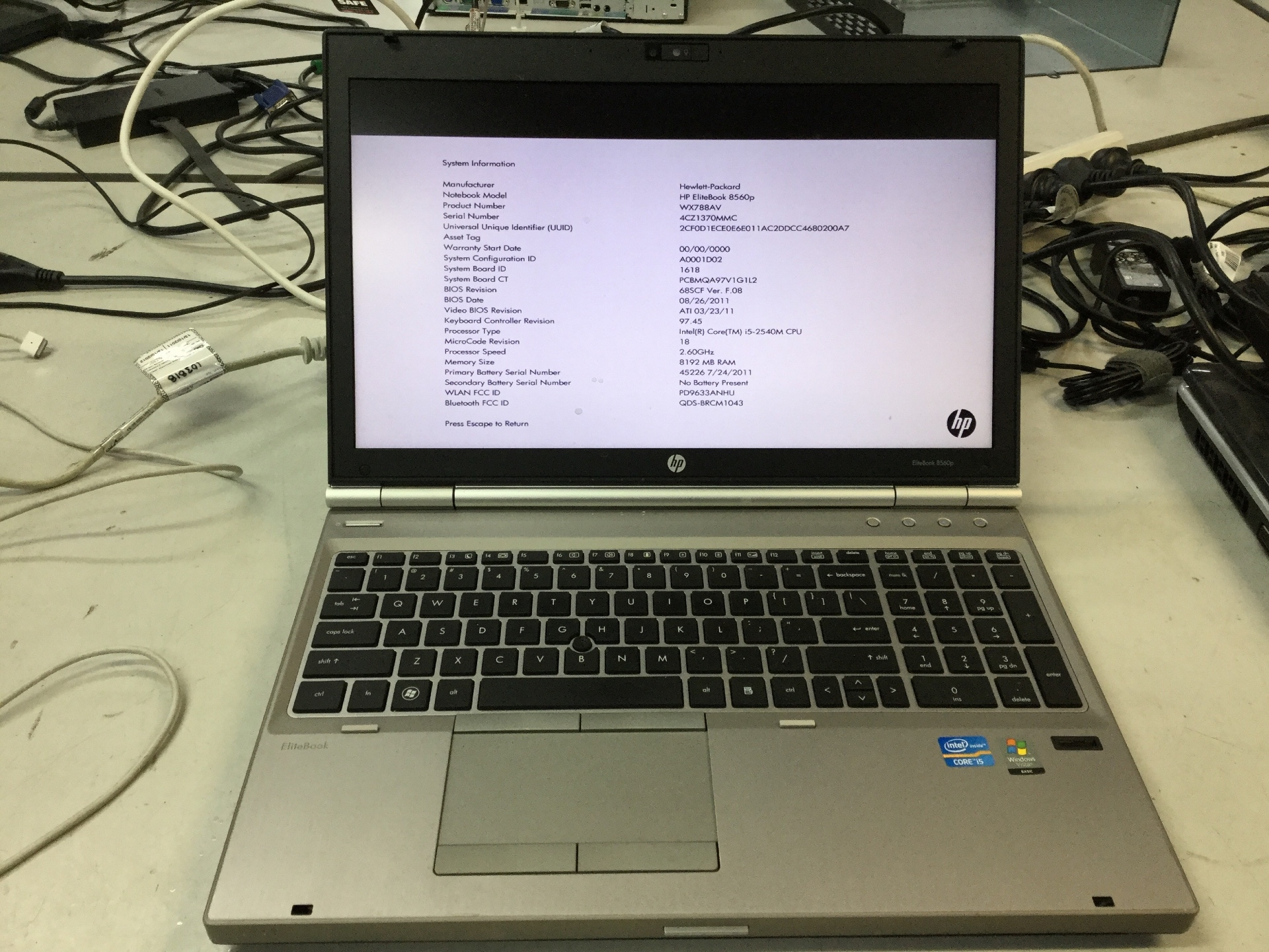 Laptop, HP EliteBook 8560P, BIOS Locked, No Charger, Appears to