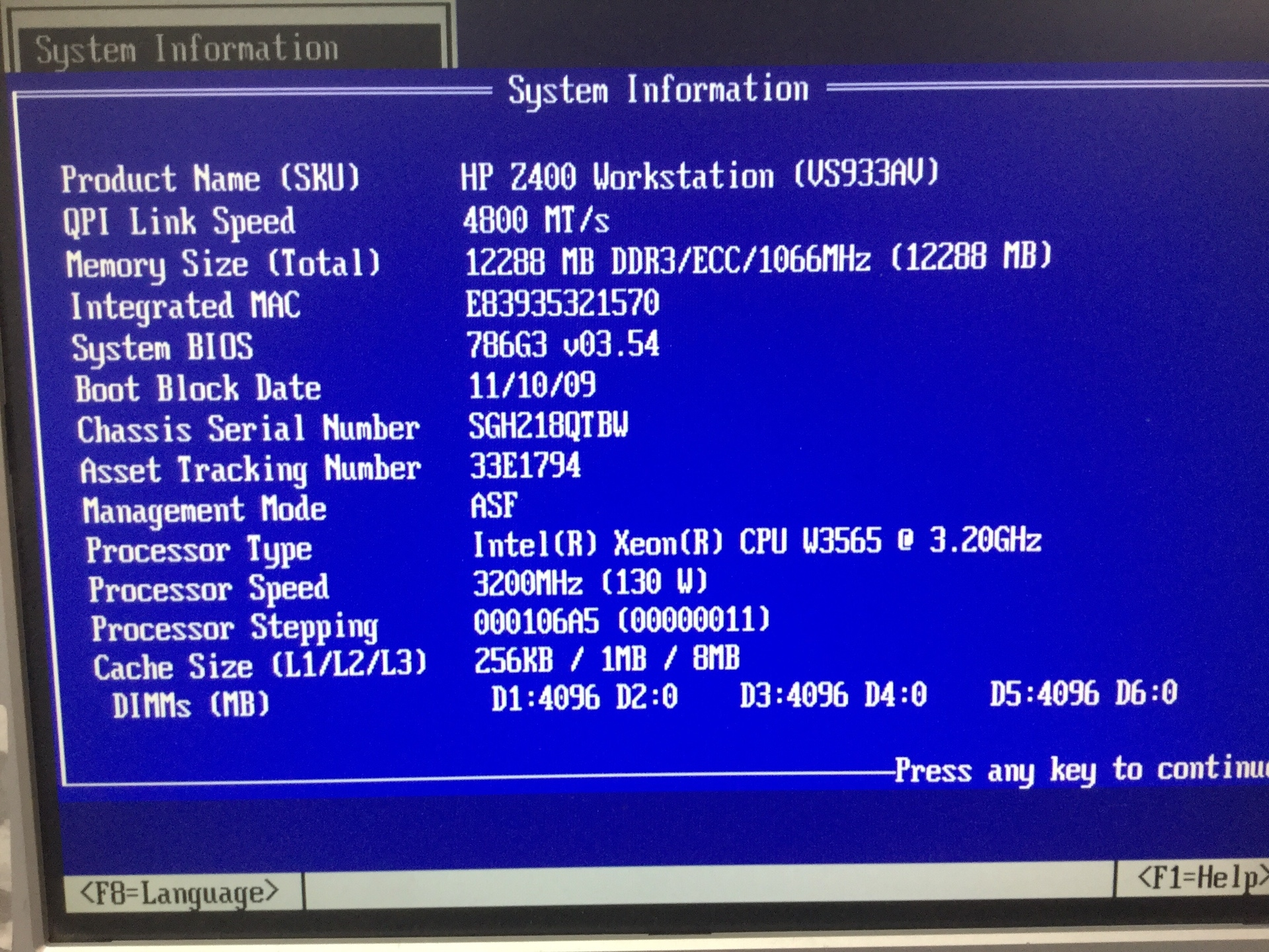 Server, HP Z400 Workstation, Appears to Function