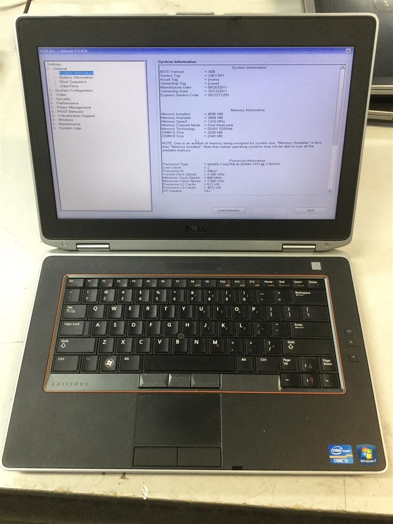 Laptop, Dell Latitude E6420, No Charger, Appears to Function