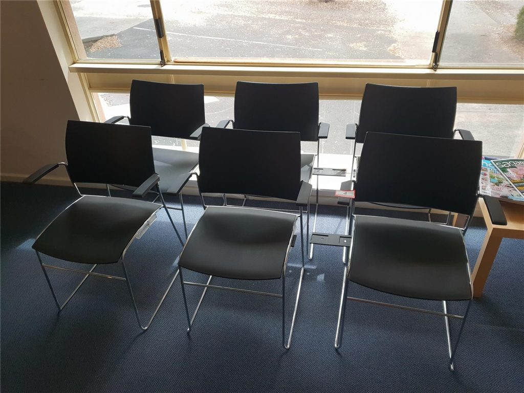 Skid Based Waiting Room Chairs Black Plastic With Chrome Frame Qty Of 6