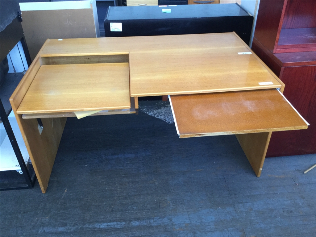 Computer Desk With Keyboard Extension Timber Veneer W1465mm X