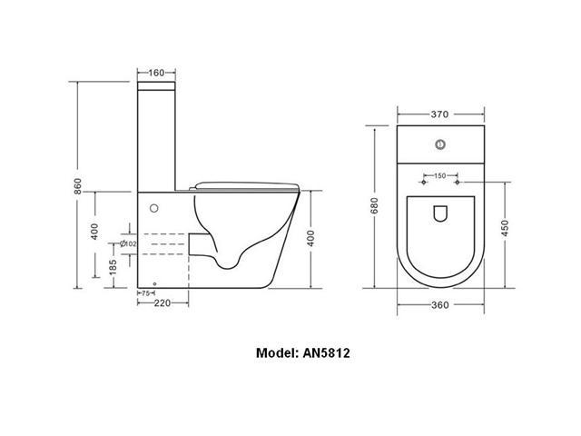 Toilet Suite - Model: AN5812  Water Mark And WELS 4 Star