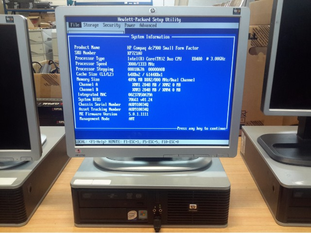 Desktop Pc, Hp Compaq Dc7900 Sff, Intel Core 2 Duo E8400 3 00Ghz